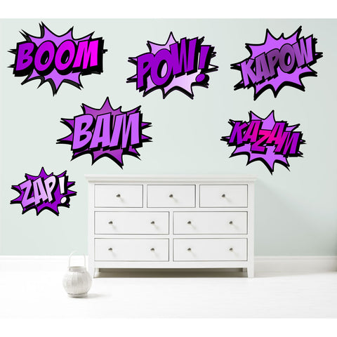 Superhero COMIC WORDS RETRO KAPOW BOOM ZAP BAM Purple Wall Art Sticker Kit decal