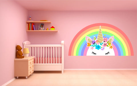 Pastel Rainbow Unicorn wall sticker