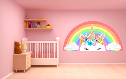 Pastel Rainbow Unicorn Clouds wall sticker