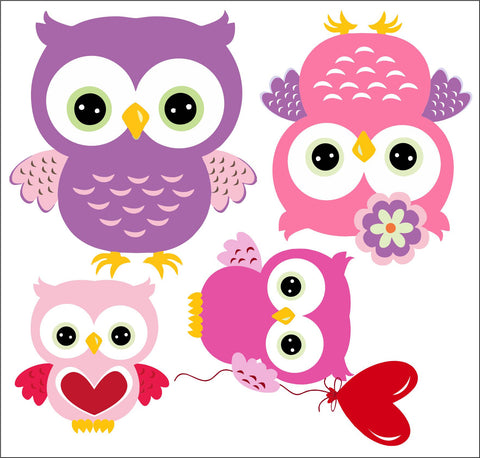 Owl Family Valentine Wall Sticker Pack Decal Graphic Animal Love