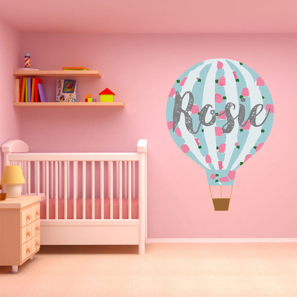 Personalised Hot Air Balloon Vintage Floral Wall Art Sticker Decal
