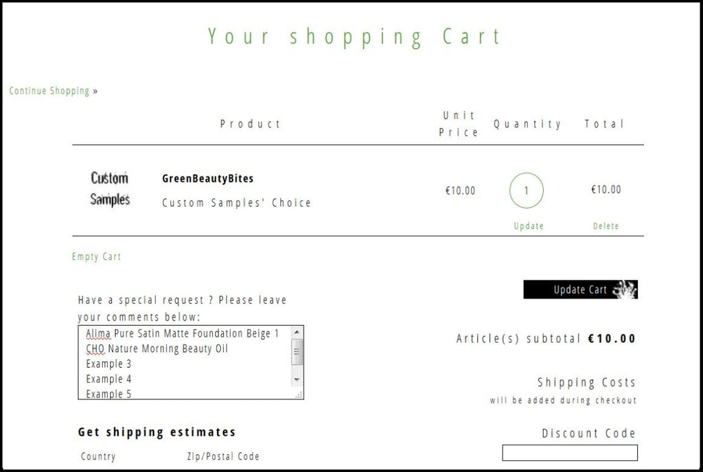 Cart Screenshot