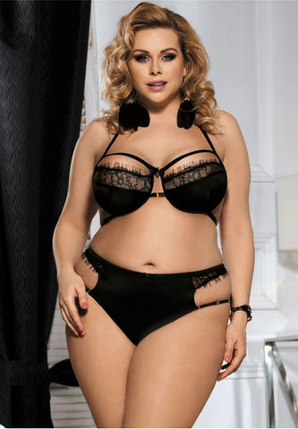 Plus Size Sexy Hollow Bra and Panty Set - The Apparel Effect