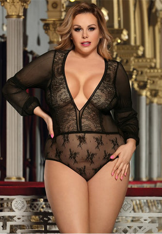 Plus Size Exquisite Lace Long Sleeve Teddy - The Apparel Effect