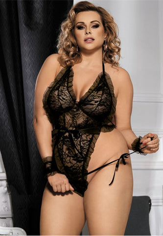 Plus Size Erotic Rosy Teddy With Wrist Restraints - The Apparel Effect