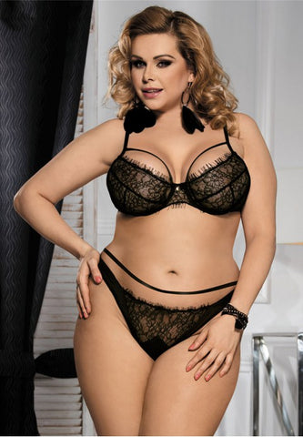 Plus Size Lingerie Eyelash Lace Bra and Panty Set - The Apparel Effect