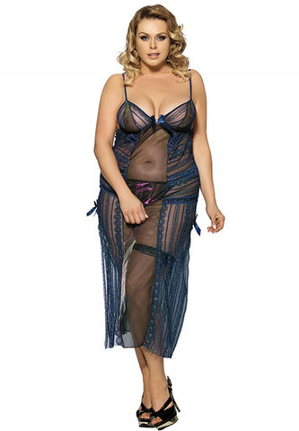 Plus Size Long Transparent Lingerie Dress With Side Open - The Apparel Effect