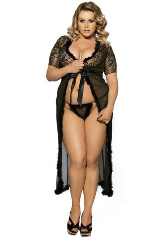 Plus Size Sexy Glam Night Robe Set