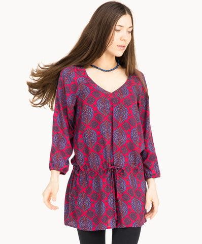 100% viscose dress top |Red blue pattern - The Apparel Effect