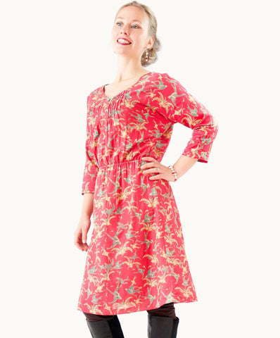 SLIMMING SUNSET BIRDS DRESS - The Apparel Effect