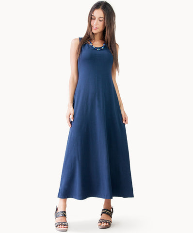 Long cotton dress |Navy blue |Black - The Apparel Effect