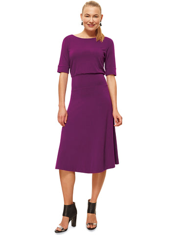 Bamboo and cotton blend knee-length dress | Sizes 8 to 22 - The Apparel Effect