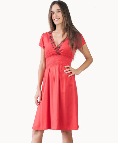 Knee length embroidered dress with V-neck design in brilliant red - The Apparel Effect