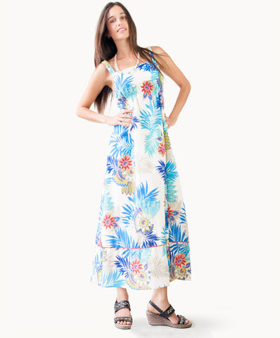 100% cotton maxi dress |Nature print - The Apparel Effect