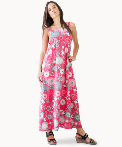 100% cotton spiral print maxi dress - The Apparel Effect