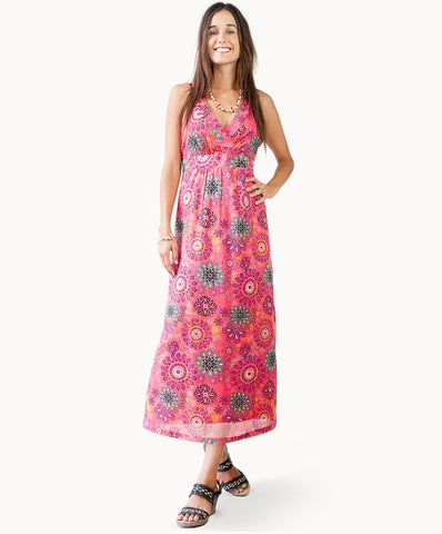 100% cotton floral print maxi dress |Tie back - The Apparel Effect
