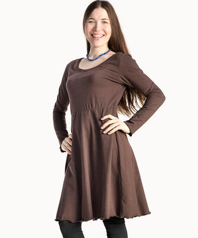 Knee length chocolate dress |Cotton - The Apparel Effect