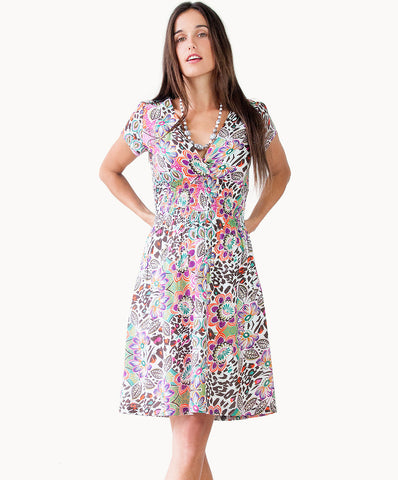 100% cotton summer print dress with V neck - The Apparel Effect