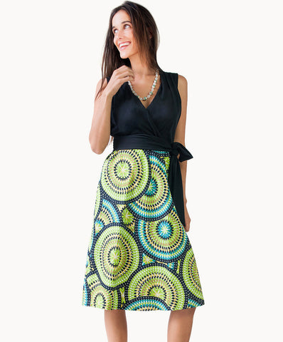 100% cotton mosaic dress |V neck |Waist-tie - The Apparel Effect