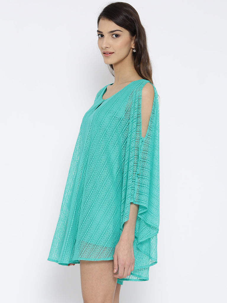 Green Lace Kaftan Cover-Up Dress