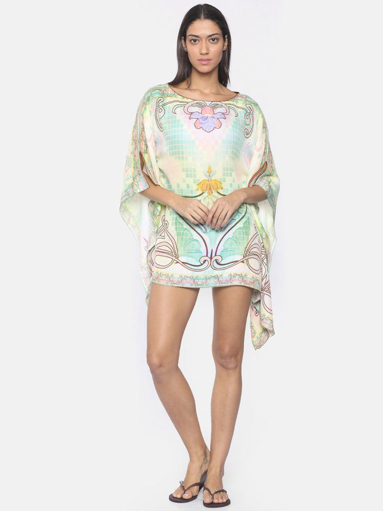 Women Green  Cream-Coloured Printed Cover-Up Dress