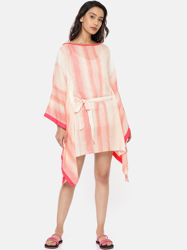 Women Pink  Off-White Dyed Swimming Dress with Belt
