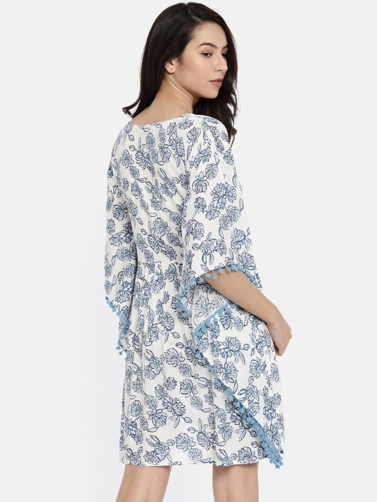 Blue  White Printed Cover-Up Dress