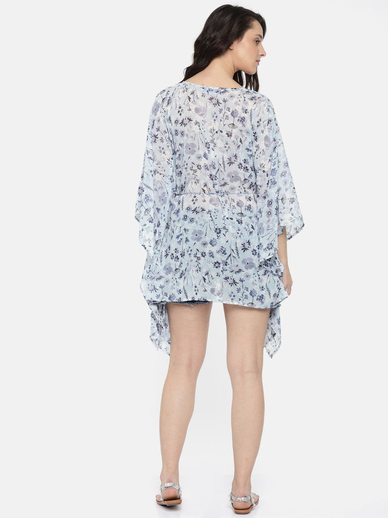 Women Blue Printed Cover-Up Dress