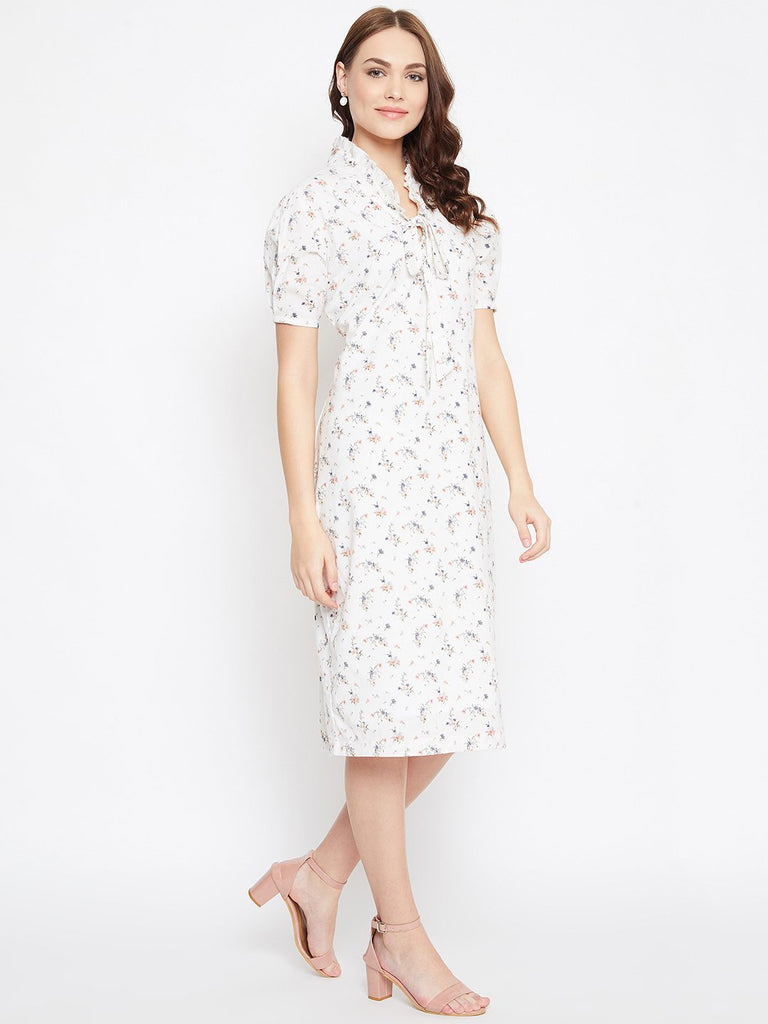 OFF WHITE FLORAL PRINTED WORKWEAR DRESS