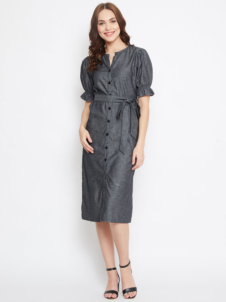 GREY DENIM WORKWEAR DRESS WITH BELT