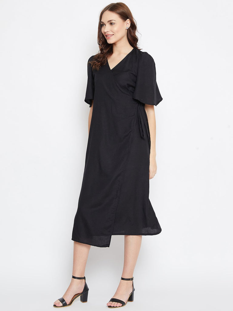 BLACK SOLID WORKWEAR WRAP DRESS