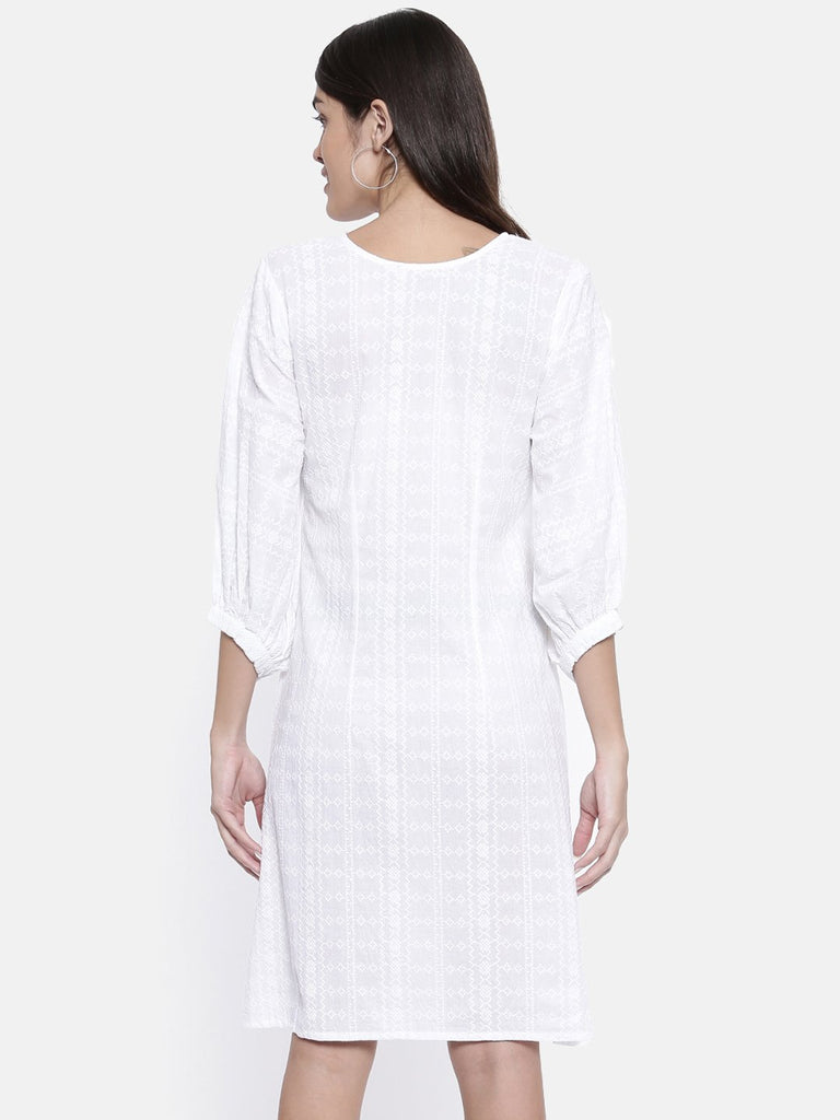 Women White Self Design A-Line Dress