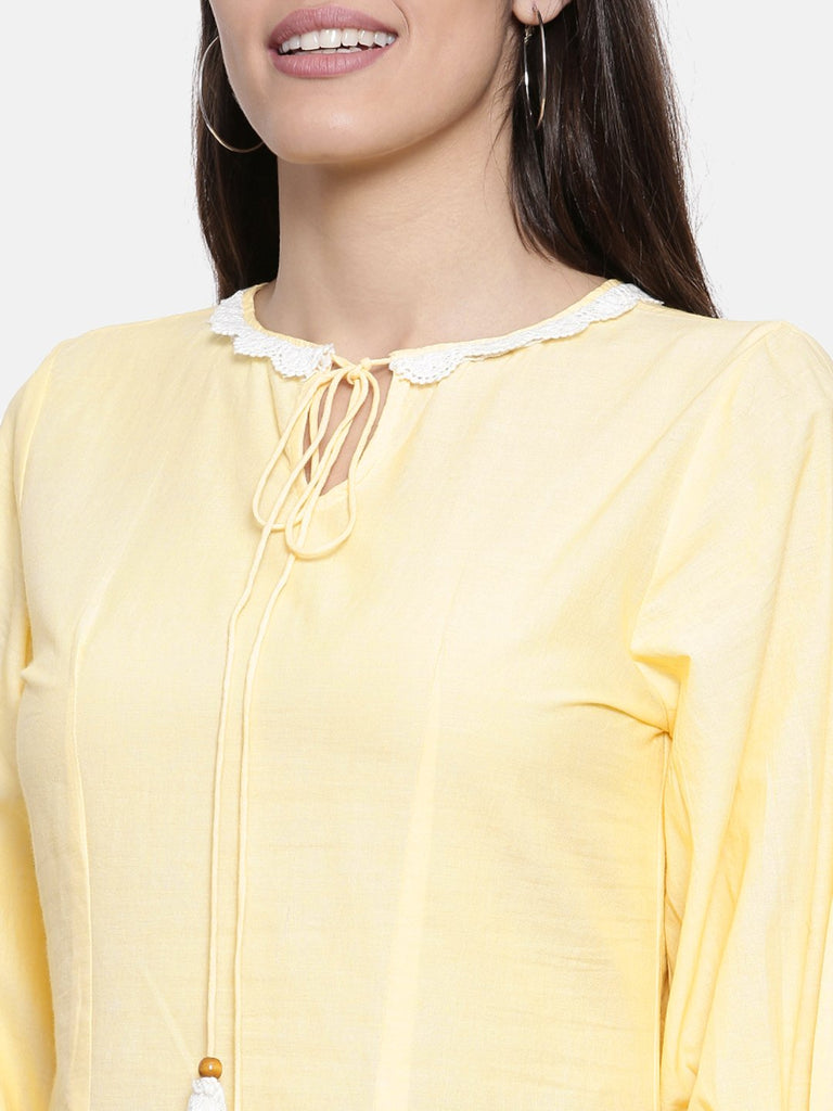 Women yellow solid a line dress