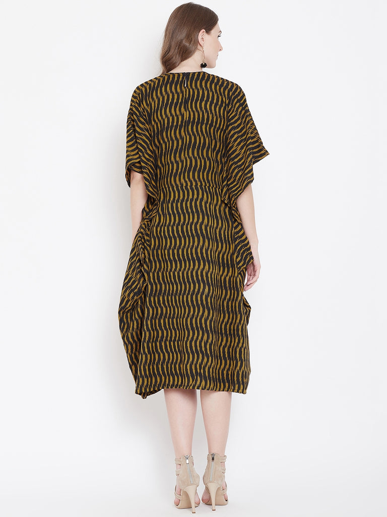 MUSTARD IKAT KAFTAN DRESS