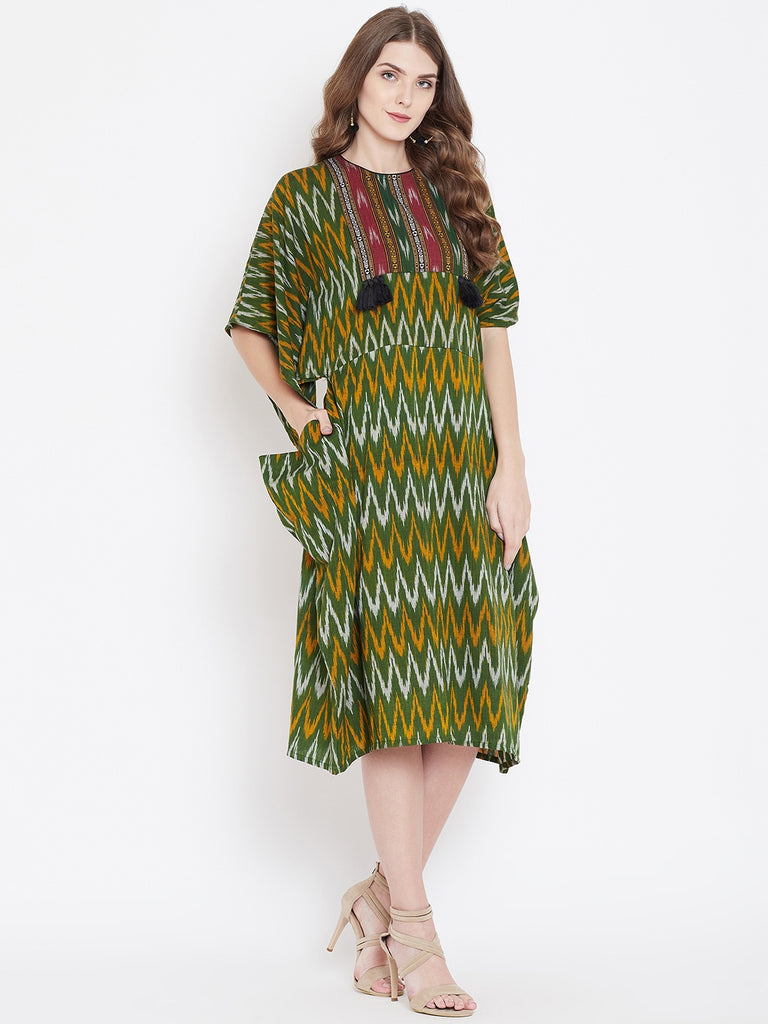GREEN IKAT KAFTAN DRESS