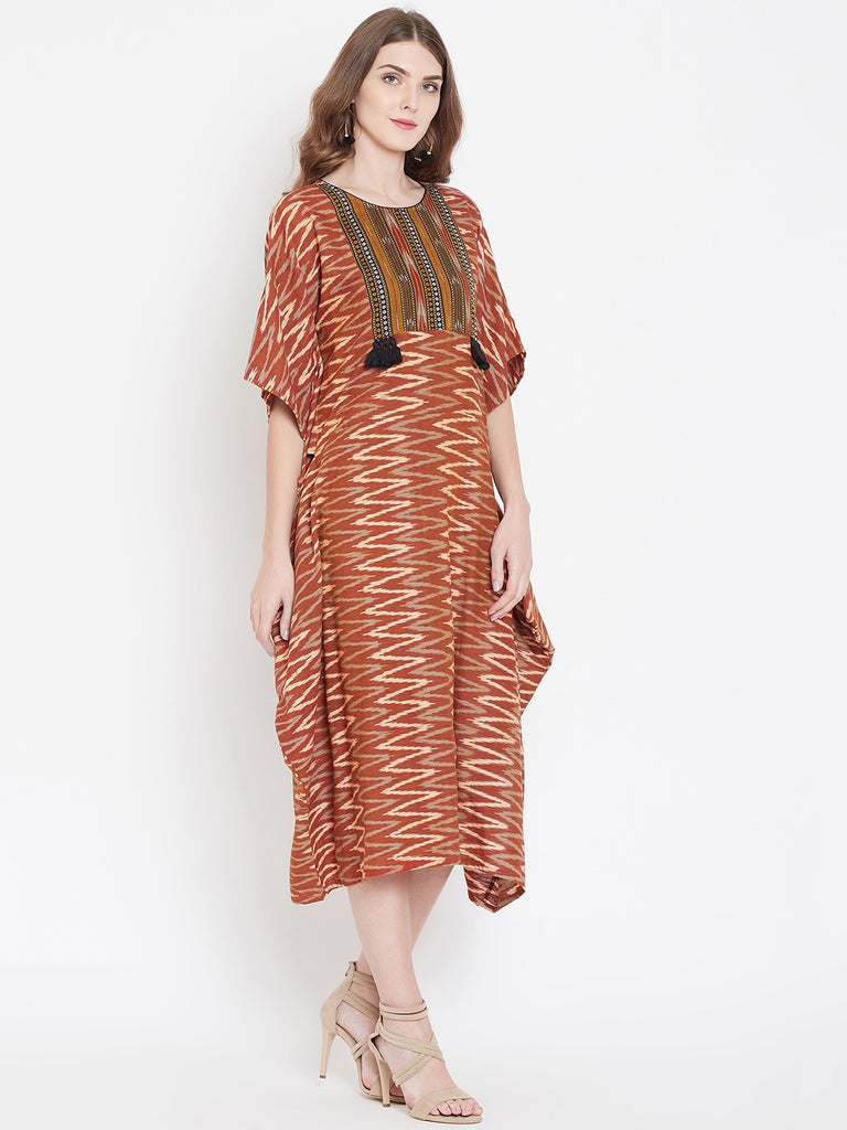 BROWN IKAT KAFTAN DRESS