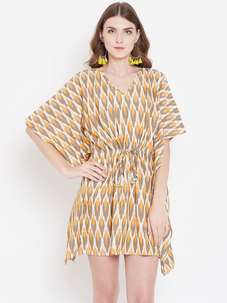 BEIGE IKAT KAFTAN DRESS