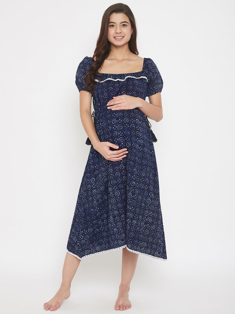 Indigo Block Printed Midi Length Cotton Maternity Dress