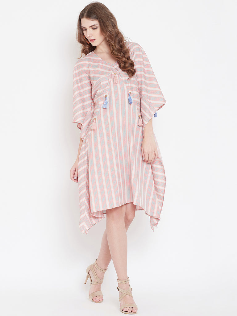 VARIEGATED STRIPES KAFTAN DRESS