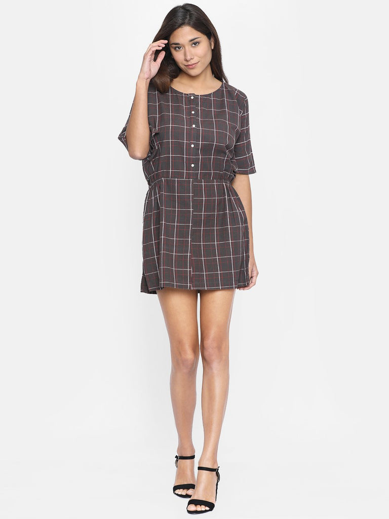 Women Taupe Checked Blouson Dress