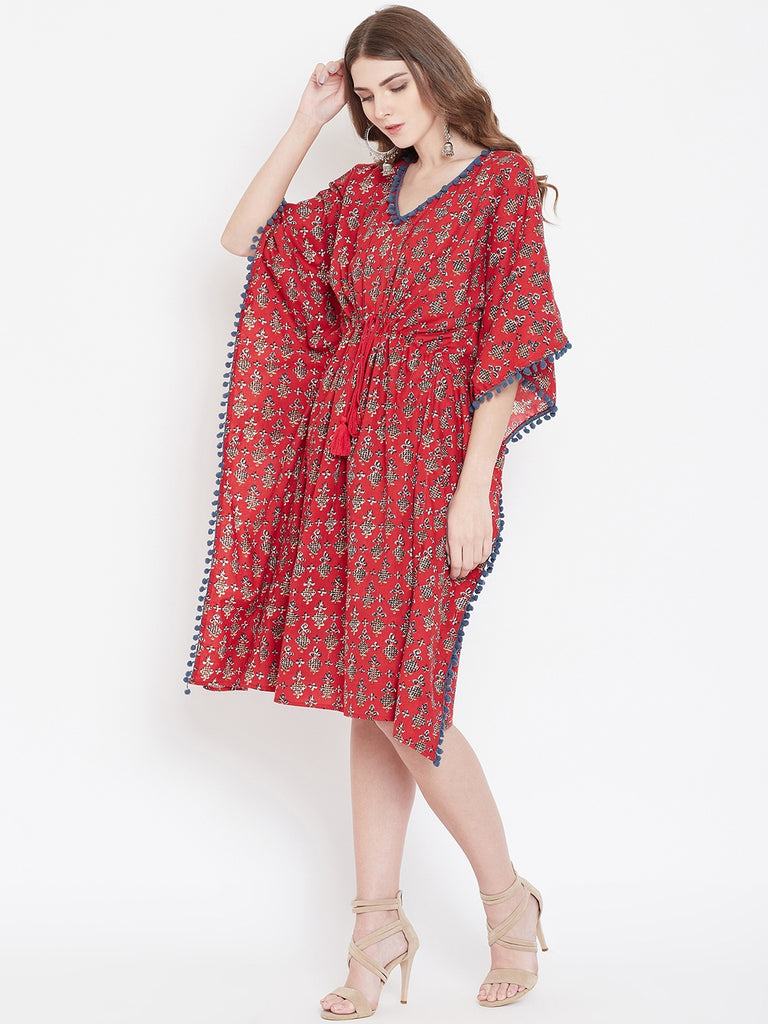 RED BLOCK PRINTED KAFTAN DRESS
