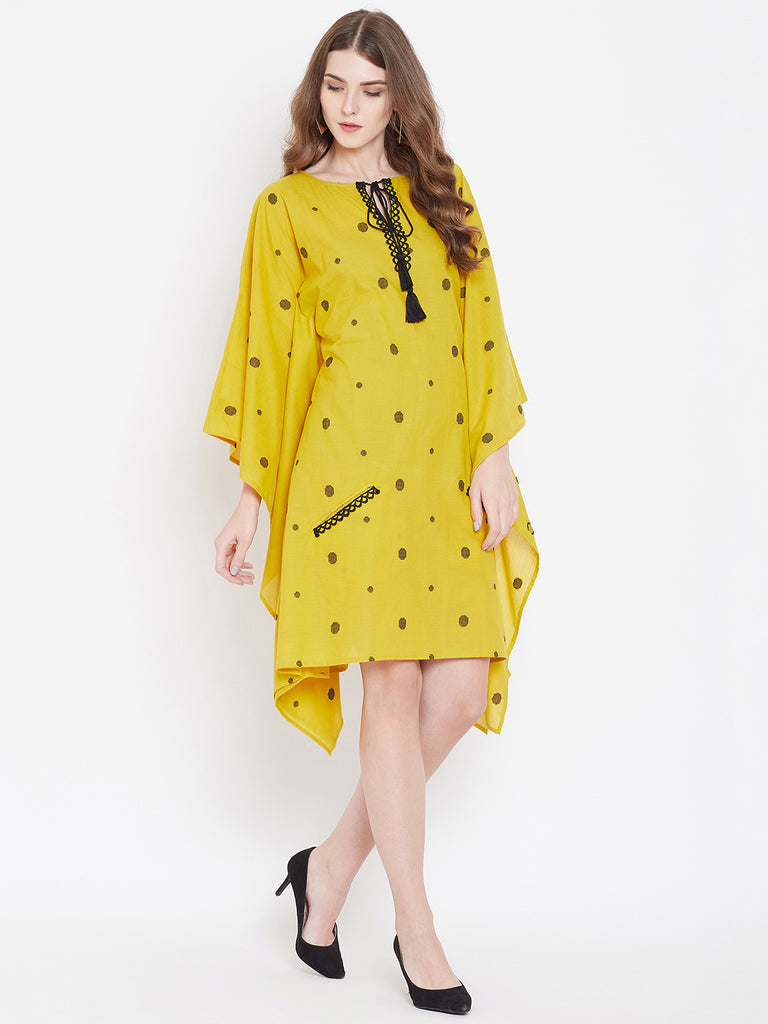 MUTED POLKAS KAFTAN DRESS