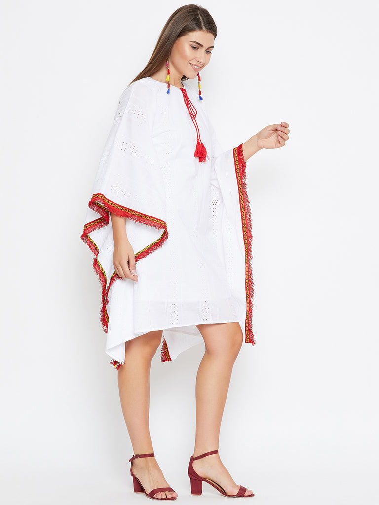 WHITE SCHIFLI KAFTAN DRESS