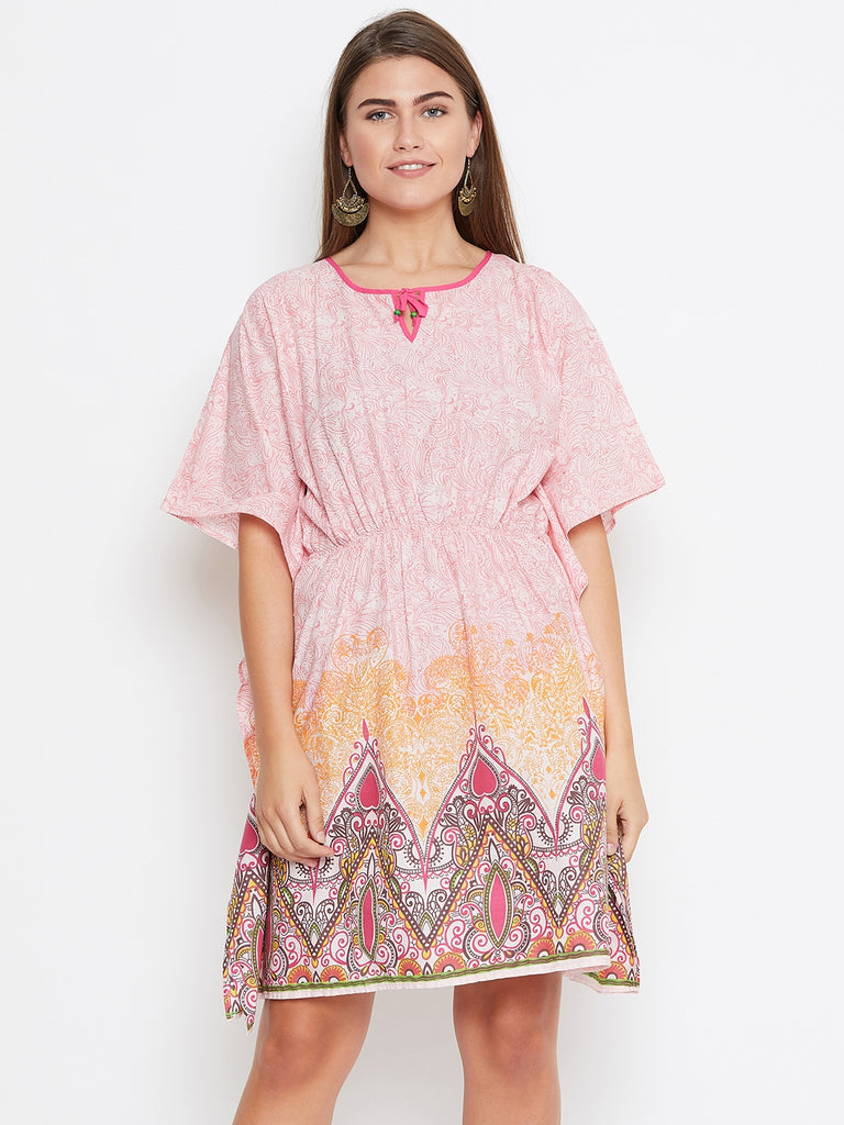 PINK PRINTED KAFTAN DRESS