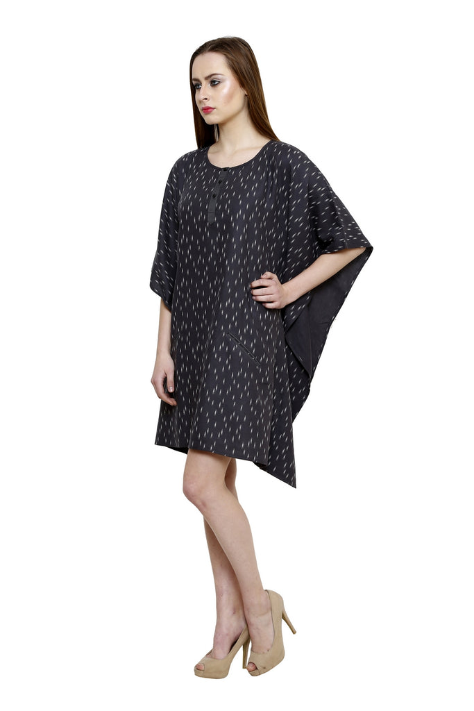 BLACK PRINTED KAFTAN DRESS