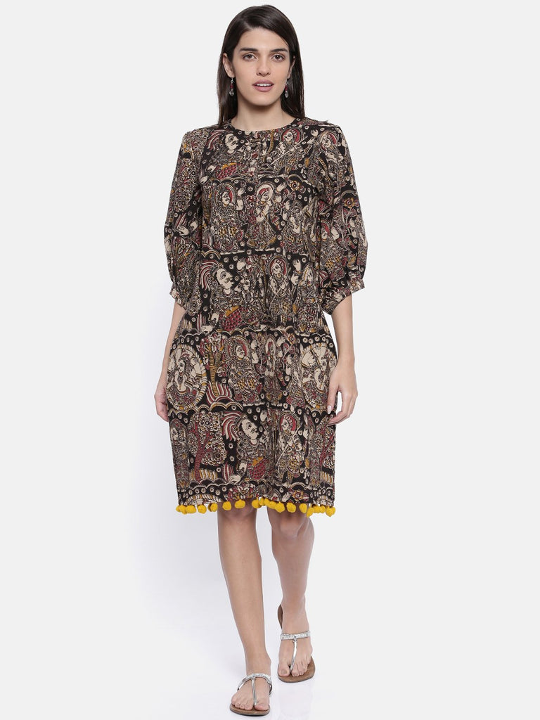 Women Black Printed A-Line Dress