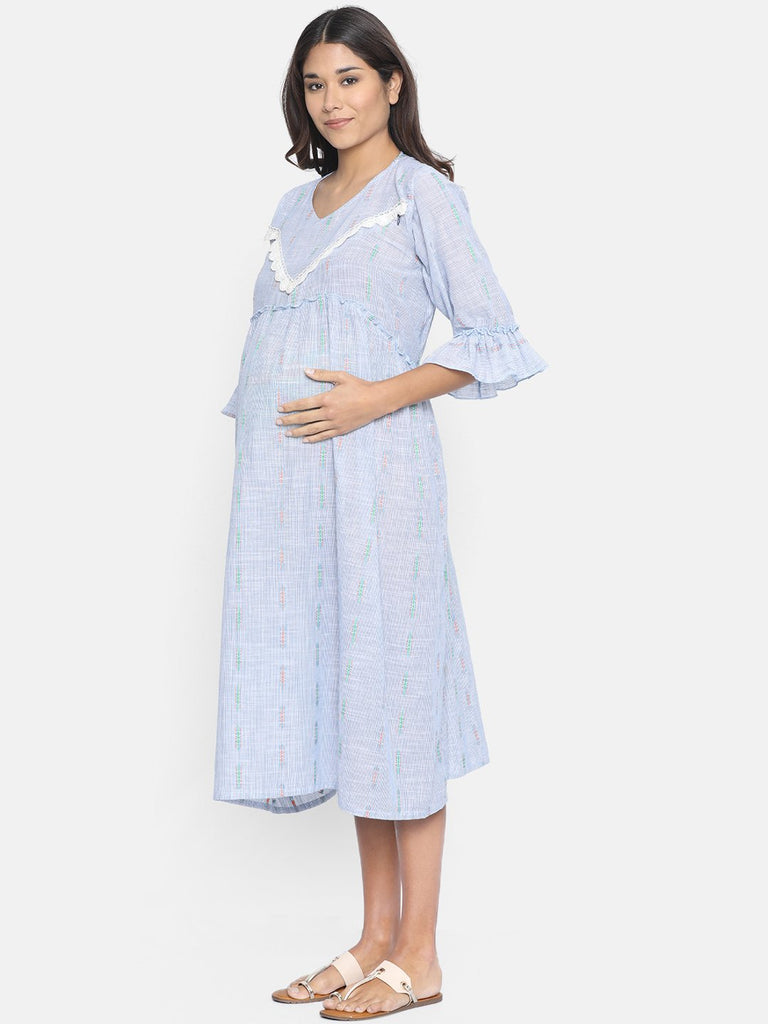 Women Blue Self Design A-Line Maternity Dress