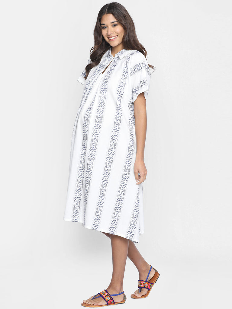 WHITE AND BLUE COTTON MATERNITY DRESS