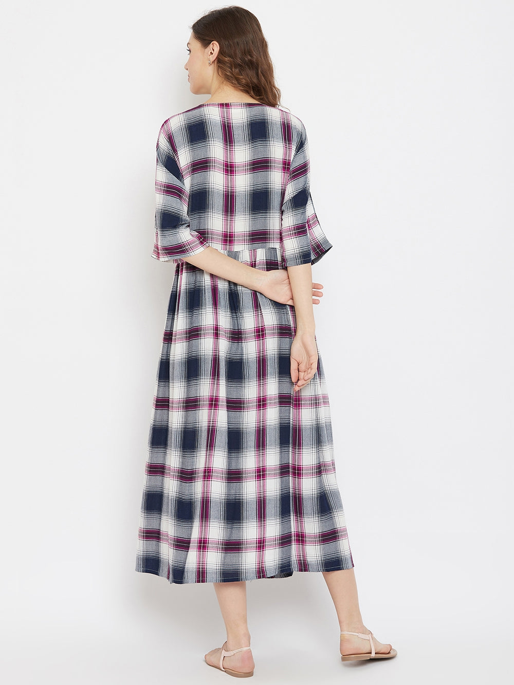 Multi Coloured Checkered Cotton Maternity Ankle Length Dress