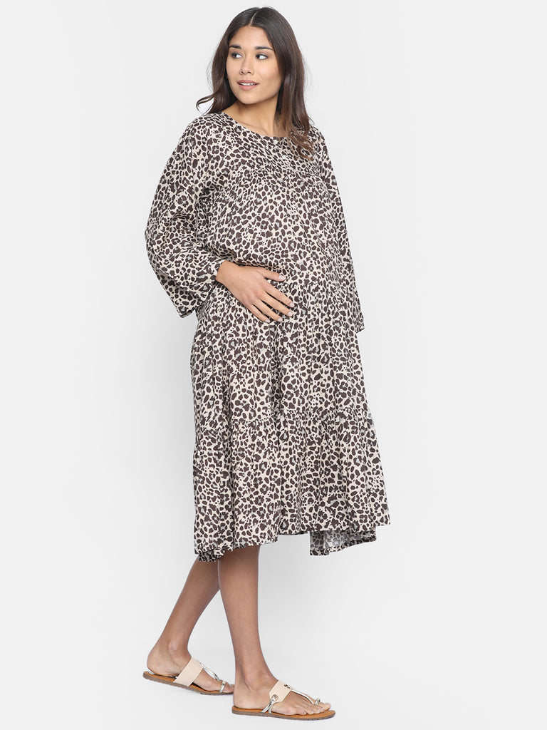 LAYERED ANIMAL PRINT MATERNITY WEAR DRESS